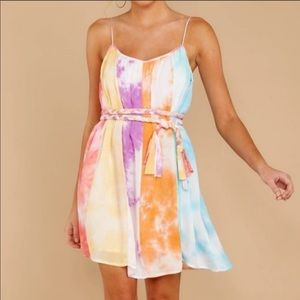 RAINBOW TYE DYE BRAIDED TIE WAIST MINI SUN DRESS